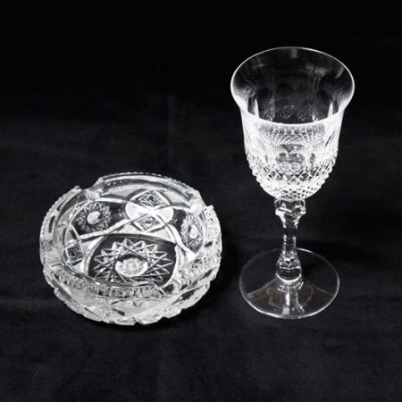 bohemian cut glass ashtray
