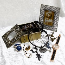 Trinket Box Matching Picture Frame and Selection Of Costume Jewellery