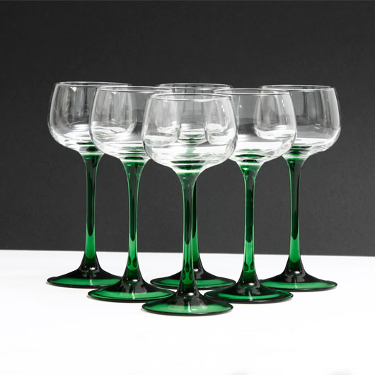 French Vintage Green Stem Wine Glasses X6 187 Kode Store Co Uk