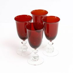 Red Beaded Stem Wine Goblets