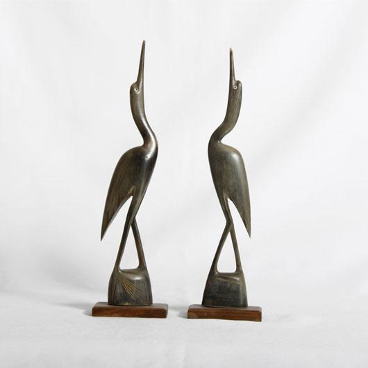 Vintage Vera Wood Carved Cranes
