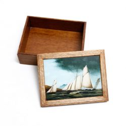 Vintage box with schooner print framed in lid
