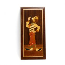 image made from wood of a clown