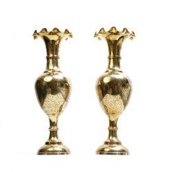 large brass trumpet vases
