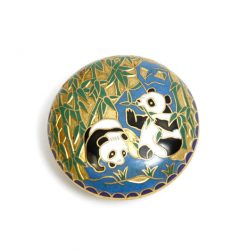 enamelled panda trinket box with pandas and bamboo