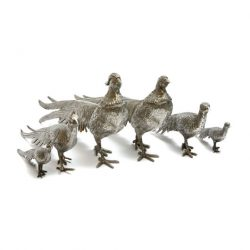 large and small ornamental metal pheasants