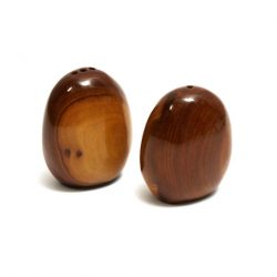 varnished wood salt and pepper shakers