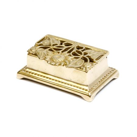 floral brass trinket box