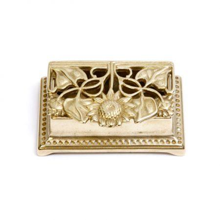 brass trinket box with sunflower pattern