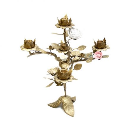 tole candelabra with ceramic flowers