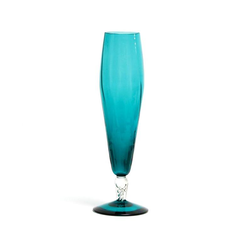 Blue art glass vase with air twist patterned stem kode for Air vase