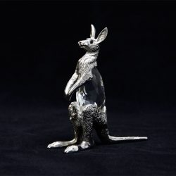 pewter kangaroo with joey