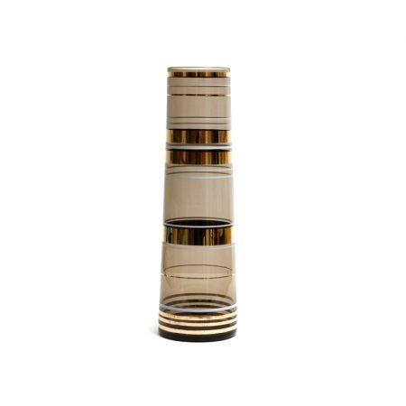 borske sklo tinted gold banded vase