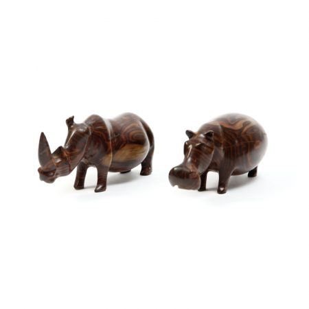 wood carved african rhino and hippo