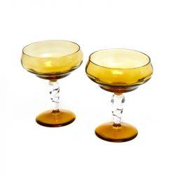 vintage amber glass vases