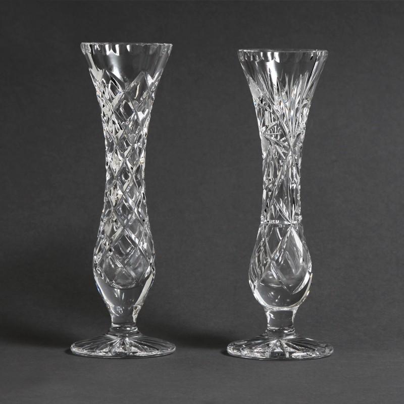 Bohemian Diamond And Pinwheel 24 Lead Cut Crystal Vases Kode