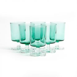 aqua green luminarc shot glasses 2