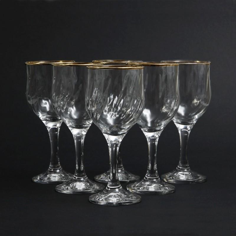 42a4bcf16f1 ... Vintage Regency Style Optic Gold Rimmed Wine Glasses. 🔍. optic design  wine glasses