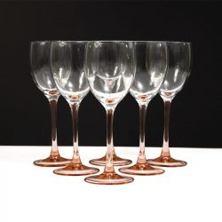 french pink stem wine glasses