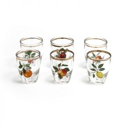 schnapps glasses with fruit print
