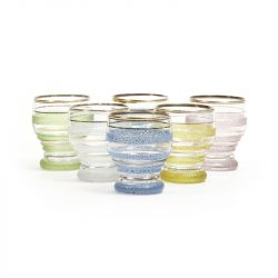 multi coloured frosted retro shot glasses