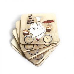 Wine Peddler by Jennifer Garant Cork backed Coasters