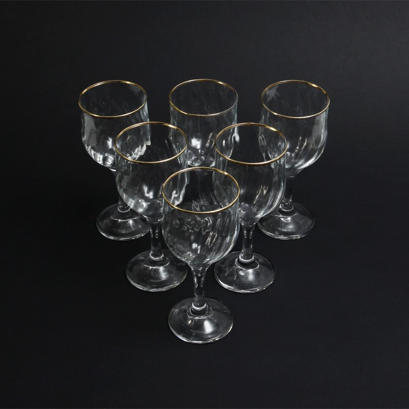 47bf2c06904 ... Regency Style Optic Gold Rimmed Wine Glasses. 🔍. optic design wine  glasses · vintage wine glasses