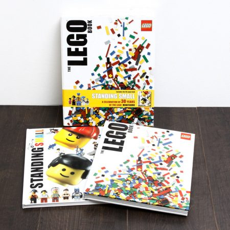 the lego book and standing small