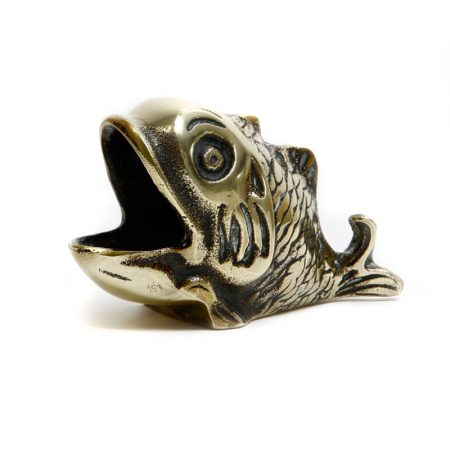 brass fish with mouth wide open
