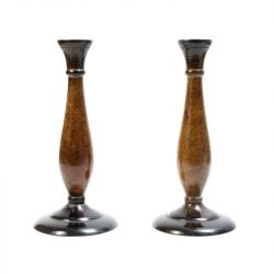 art deco faux bois candle holders 2