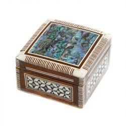 inlaid abalone and bone trinket box