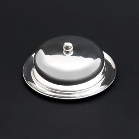 round silver plated butter dish