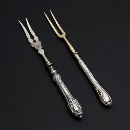 Russian gilded silver two pronged forks