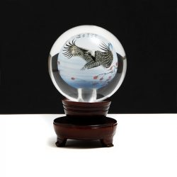 Chinese reverse art globe with wood stand
