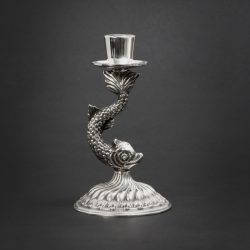 silver-plated dolphin candlestick