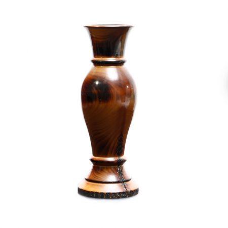 patterned wood vase