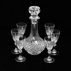 cristal d'arques bleikristall decanter with crystal liquor glasses