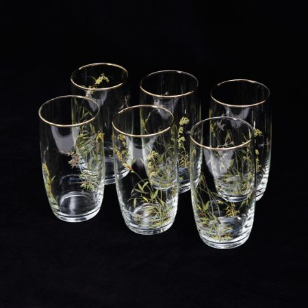 river grass and ducks print gold rimmed tumblers