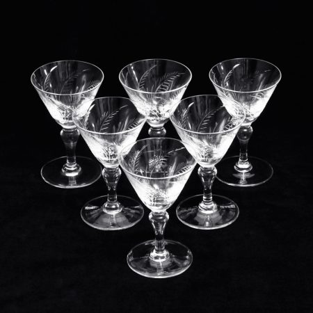 fern pattern crystal liquor cocktail glasses 2