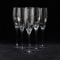 Romanian Hand Blown Platinum Champagne Flutes