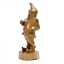 carved wood gnome with pipe