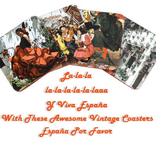 vintage spanish cup coasters