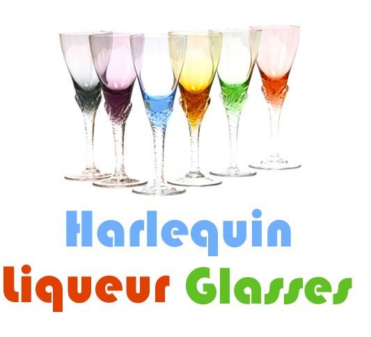 harlequin liqueur glasses