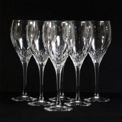 six Cut Crystal JG Durand Capella wine glasses