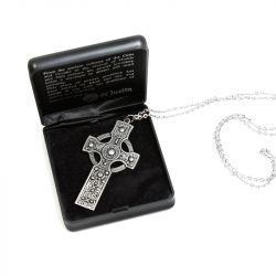 st justins pewter celtic cross in case
