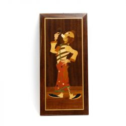 sorrento inlaid wood clown from italy