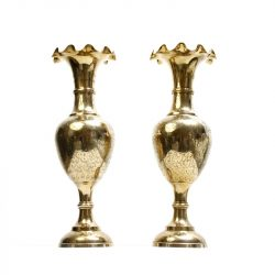 engraved large brass trumpet vases