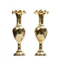 engraved large brass trumpet vases