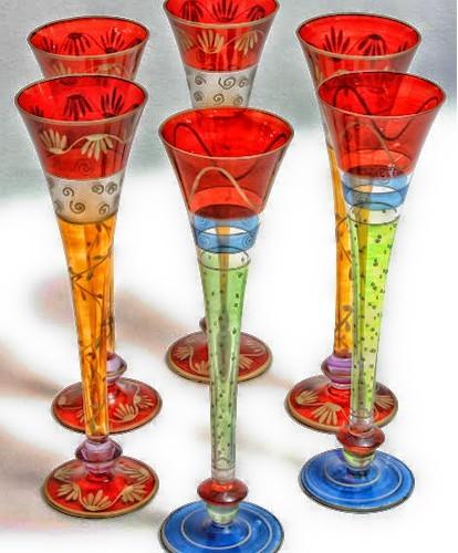 Vintage Trumpet Champagne Flutes