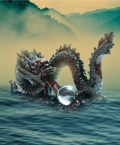 Pearl Spitting Red Chinese Dragon